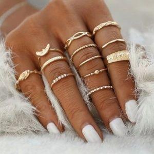 12 Piece Gold Ring Set